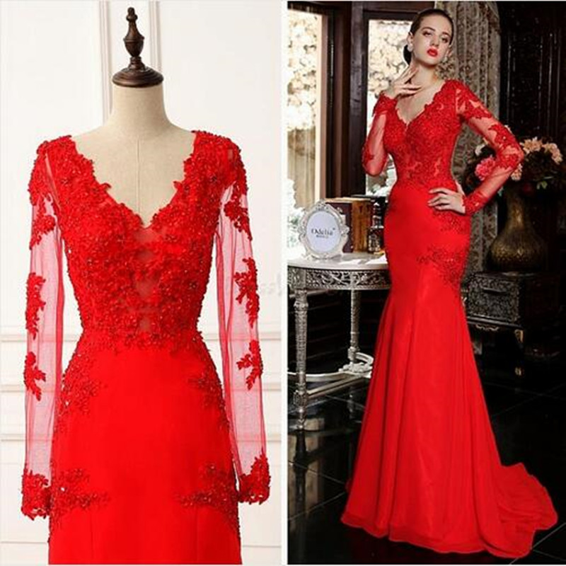Compare Prices on Red Lace Evening Gown with Sleeve- Online ...