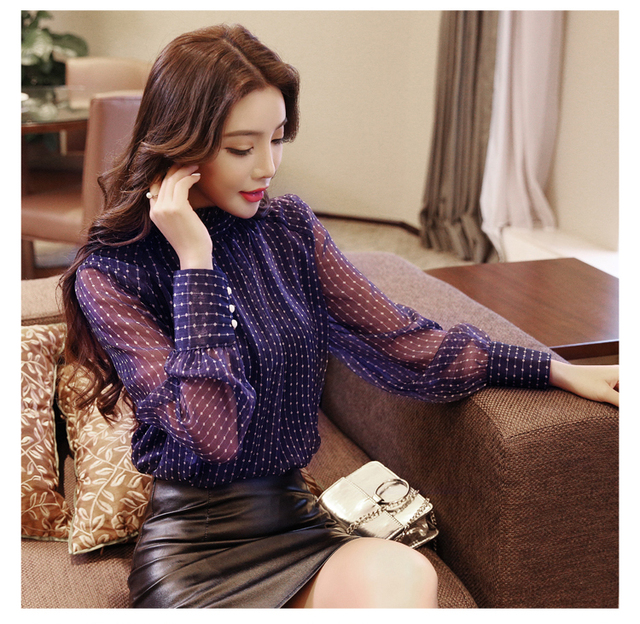 2019 summer woman top blusa mujer lace chiffon blouse women shirt long sleeve womens tops and blouses ladies plus size 6
