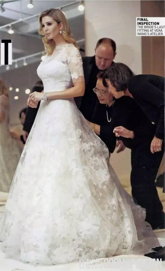 Ivanka Trump Elegant Lace Wedding Dresses with Sheer High Neck Big A ...