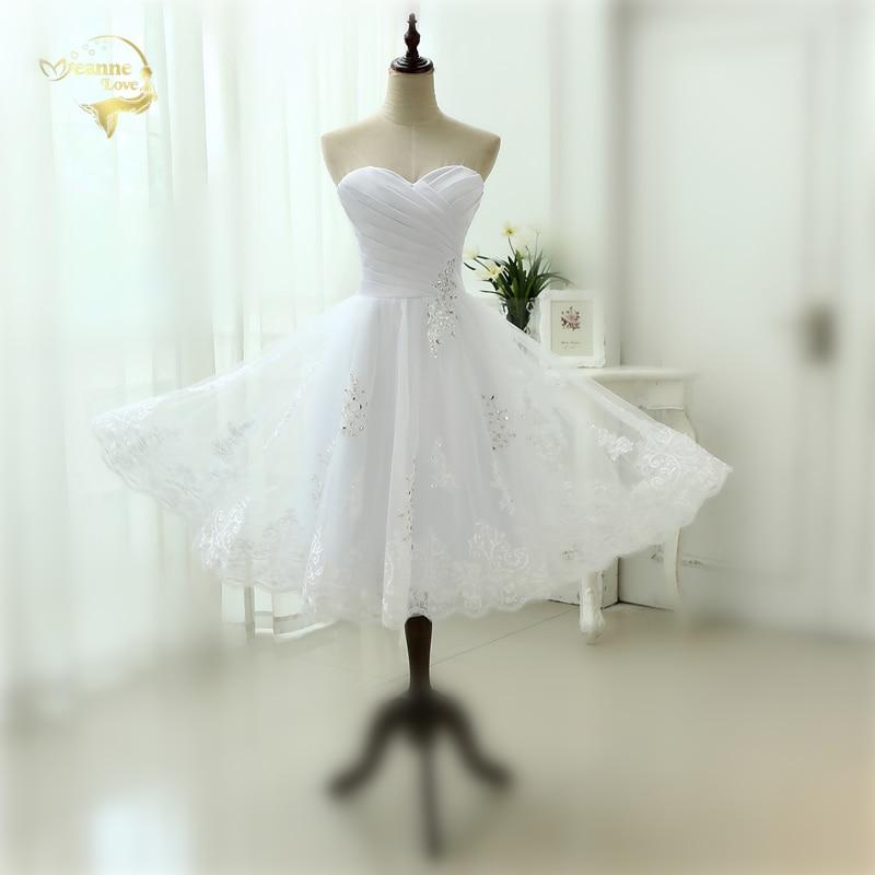 2020 Beach Tea Length Wedding Dress Sweetheart White Appliques Lace Vestido De Novia Robe De Mariee Short Wedding Dresses OW2222