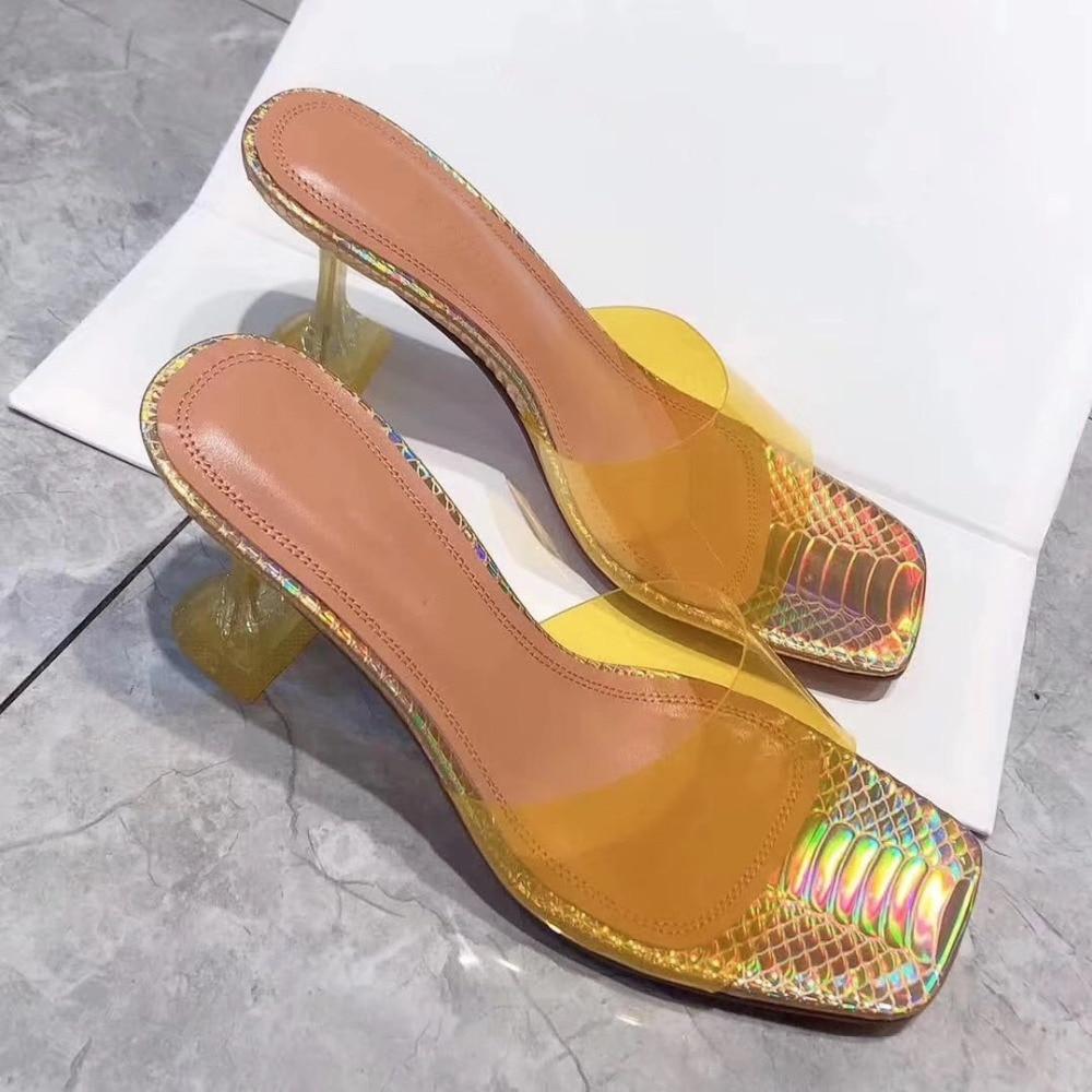Jawakye pvc 클리어 하이힐 여성 슬리퍼 야외 뮬 신발 투명 슬라이드 8 cm 여름 신발 여성 게으른 로퍼 슬리퍼-에서슬리퍼부터 신발 의  그룹 2
