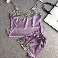 Summer Women Sexy Silk Satin Pajama 2Pcs Set Female Lace Pyjama V Neck Sleepwear Woman HomeWear
