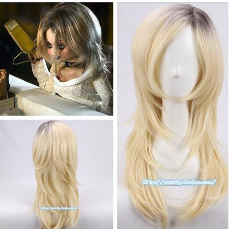 Halloween Bride of Chucky Tiffany Women blonde mix wig Jennifer Tilly cosplay wig + wig cap