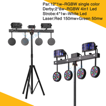 New Light Stand LED 4 Par Combined Effect Light Stage Lights Par Laser Derby Strobe Party Lighting For Bar freeshipping 30 pack led colony stage effect light led white strobe combined with red green laser rgbwa rotating derby effect