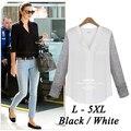 BF Europeu Branco preto Com Decote Em V Botão Manga Comprida Ladies Casual Sheer Camisa Chiffon Plus Size L-5XL Chiffon Blusas Mulheres topos