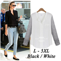 Black White European BF V-Neck Button Long Sleeve Ladies Casual Sheer Chiffon Shirt Plus Size L- 5XL Chiffon Blouses Women Tops