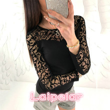 Long Sleeve Womens Floral Lace Blouse 2018 Summer Ladies Sheer Mesh Black Tops Femme Causal Shirt Sexy Transparent Laipelar