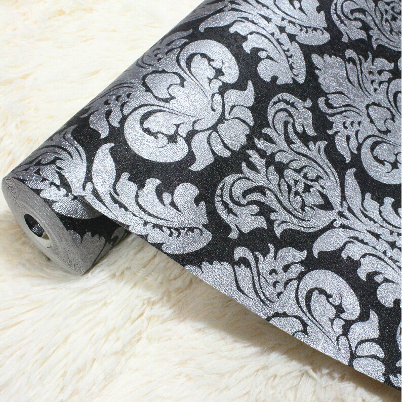 ФОТО beibehang Luxury Black Damask on silver Textured EmbossedWallpaper Embossed Shining Sand PVC Tapete For Background Wall paper