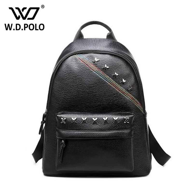 WDPOLO 2017 new pu leather rivet women backpack fashionable high capacity backpack chic female women sac