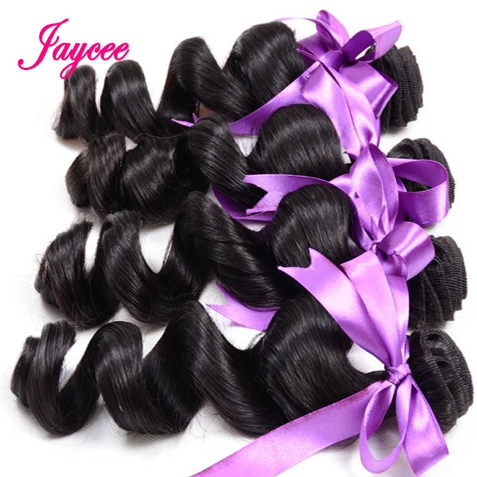 Jaycee бразильские свободные волнистые в наборе с закрытием свободные пучки локонов с закрытием 100% человеческих волос Плетение 2/3 пучков с закрытием