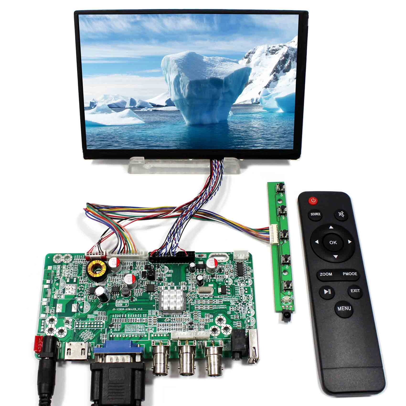HDMI VGA BNC USB Audio LCD controller board JX-V2959-AVM with 7inch N070ICG-LD1 1280x800 IPS lcd panelHDMI VGA BNC USB Audio LCD controller board JX-V2959-AVM with 7inch N070ICG-LD1 1280x800 IPS lcd panel
