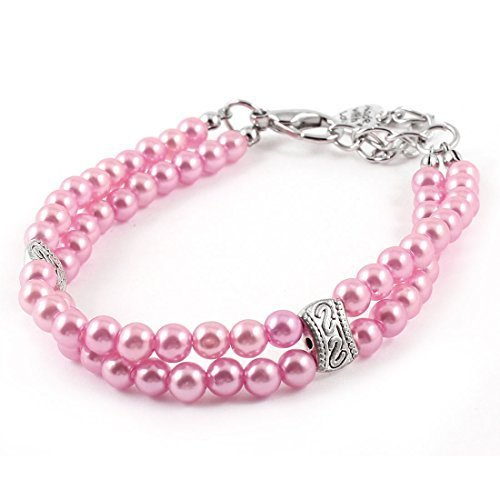 Pink Dual Rows Beads Decoration Pet Dog Yorkie Collar Necklace S size