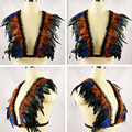 Womens feather bra Iridescent velvet tuxedo Gothic Body Harness Caged Epaulett Bondage Shoulder top gypsy boho festival lingerie