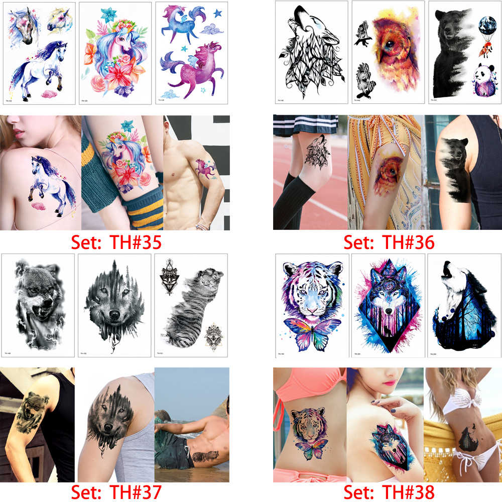 b4fe484a6ff67 ... glaryyears 3 Pieces/set Colored Animal Tattoo TH Temporary Wolf Leopard  Image Design for Women ...