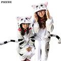 Franela invierno madre de Familia y niños unicornio hembra panda animal pijama de una pieza de la Muchacha del Muchacho pijamas casa ropa de mujer Con Capucha