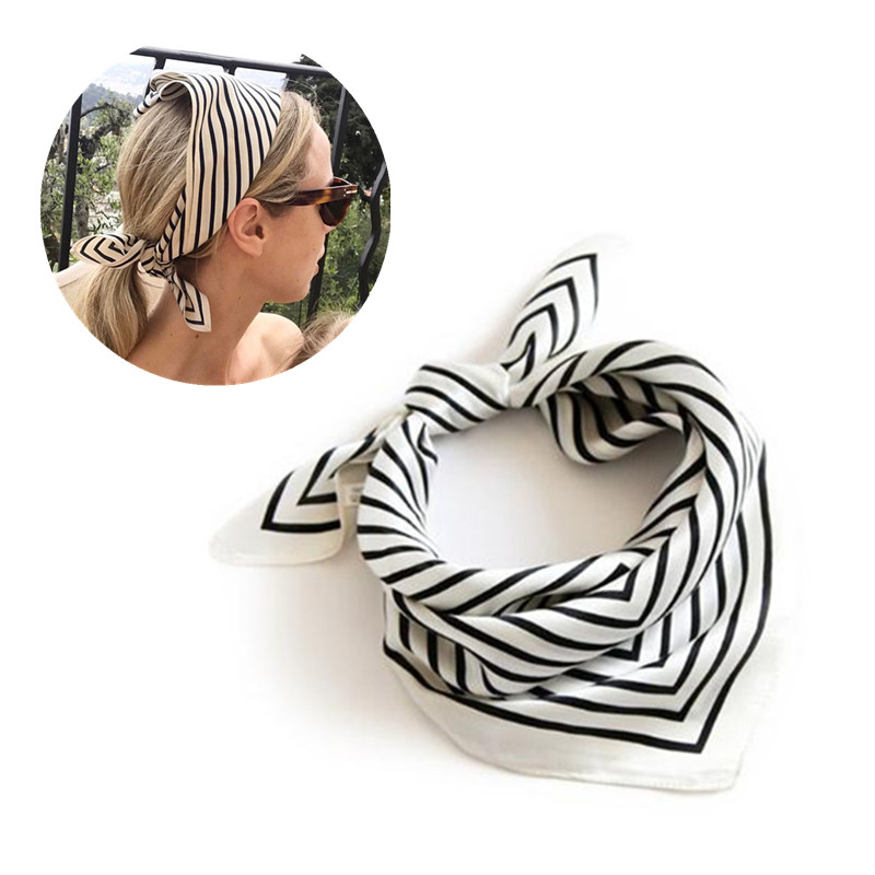 LEAYH 55cm Small Imitation Silk Scarf Female Striped Square Scarves Stewardess Bank Career Apparel Accessories Women Headkerchei