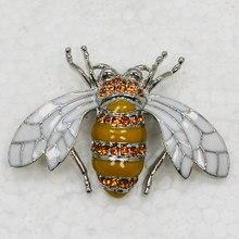 12 шт./лот Оптовая Брошь Горный Хрусталь Эмаль Honey Bee Контактный Мода броши Ювелирные Изделия подарок C101709