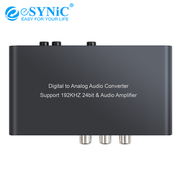 Convertidor eSYNiC 192kHz DAC con Control remoto IR Coaxial/Toslink/óptico a analógico L/R adaptador de Audio RCA 3,5mm