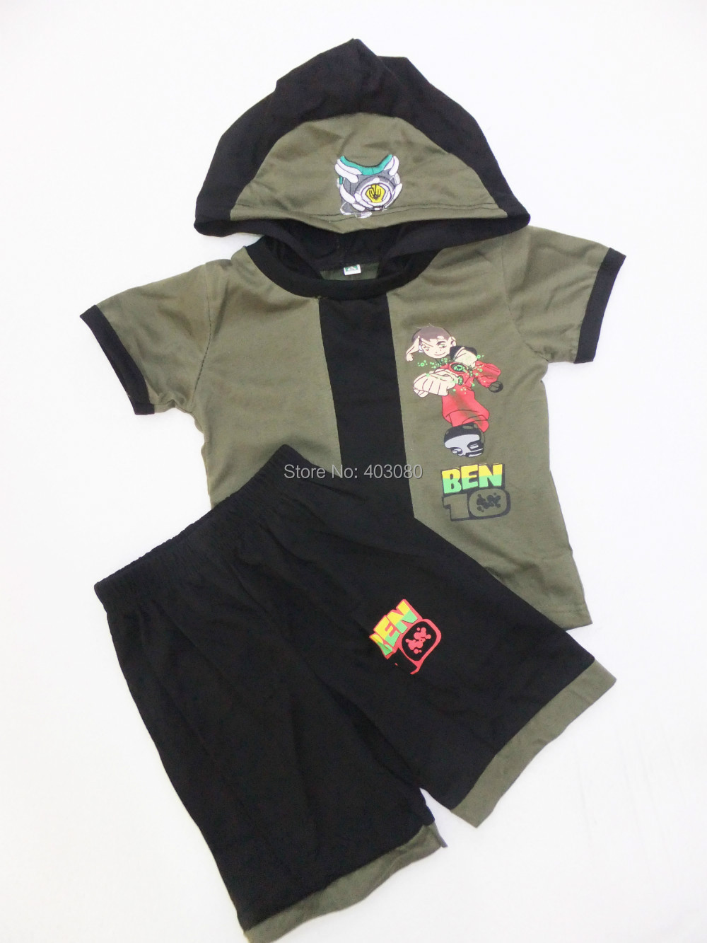 Army green short sleeves cotton BEN-10 Cosplay Baby kid clothes 2 suit clothing Role-playing Boy leisure wear