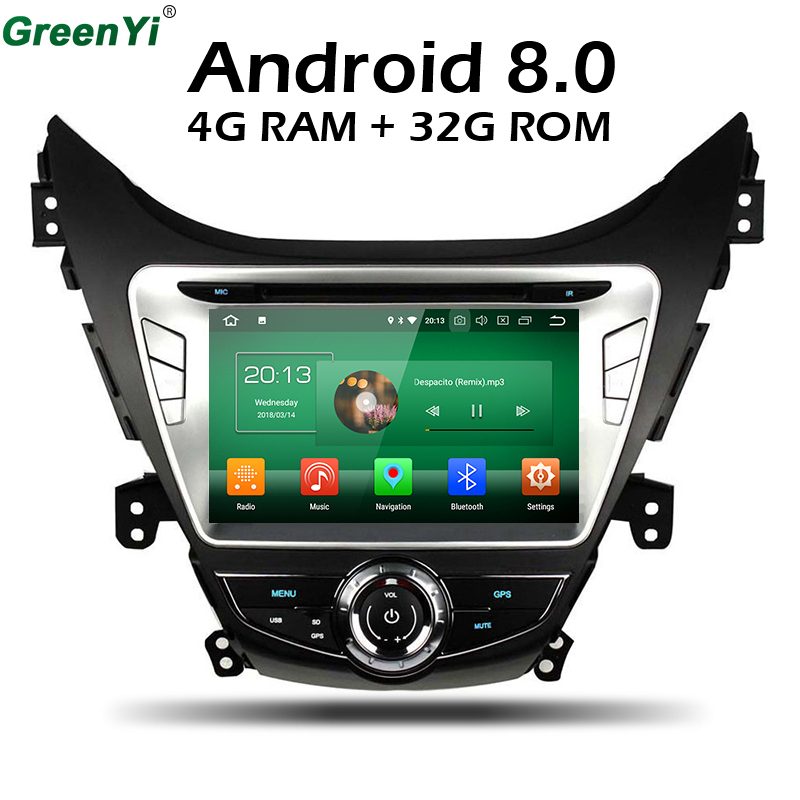 4GB RAM Octa Core Android 8.0 Car DVD GPS Radio Fit Hyundai Elantra Avante I35 Car Stereo TV 4G Navigation Multimedia Head Unit ветровики korea hyundai elantra 2013 avante md 2013