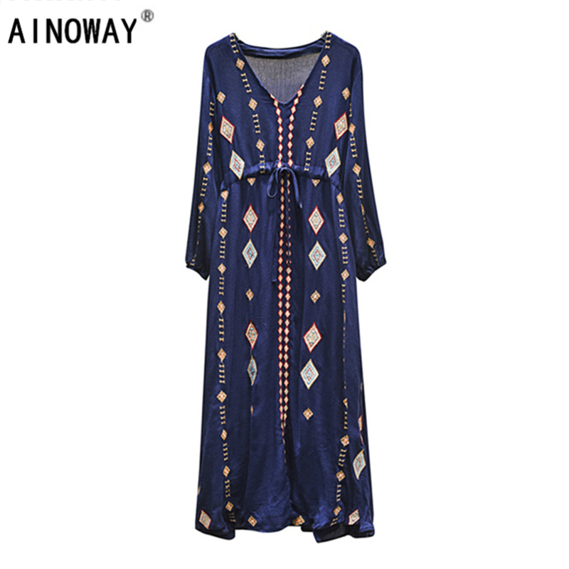 Vintage Chic  women  floral emboidery lace-up v-neck  beach Bohemian Maxi rayon dress Ladies Summer Boho dress vestidos