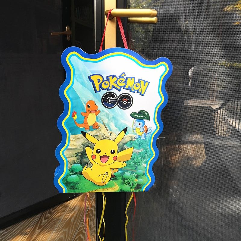 1pc 40*30cm Pikachu paper folding Pinata pokemon go Cartoon 6 people play game Pinata Birthday Party Supplies Party Favors