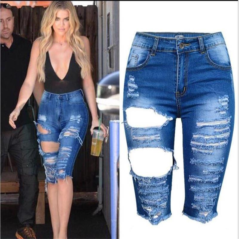 Supsindy Denim Shorts Jeans Vintage Women's Luxury Ripped High-Waist Large-Size Casual