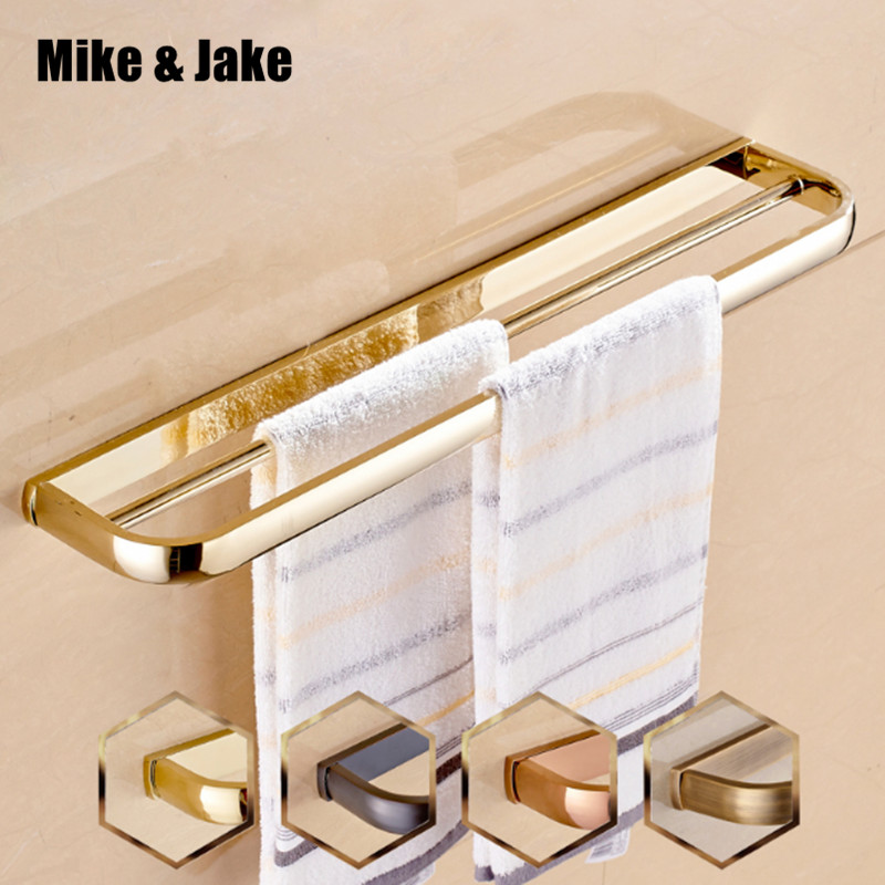 Luxury gold Double Towel Bar golden Towel Holder Solid Brass Made Gold European style Bath towel