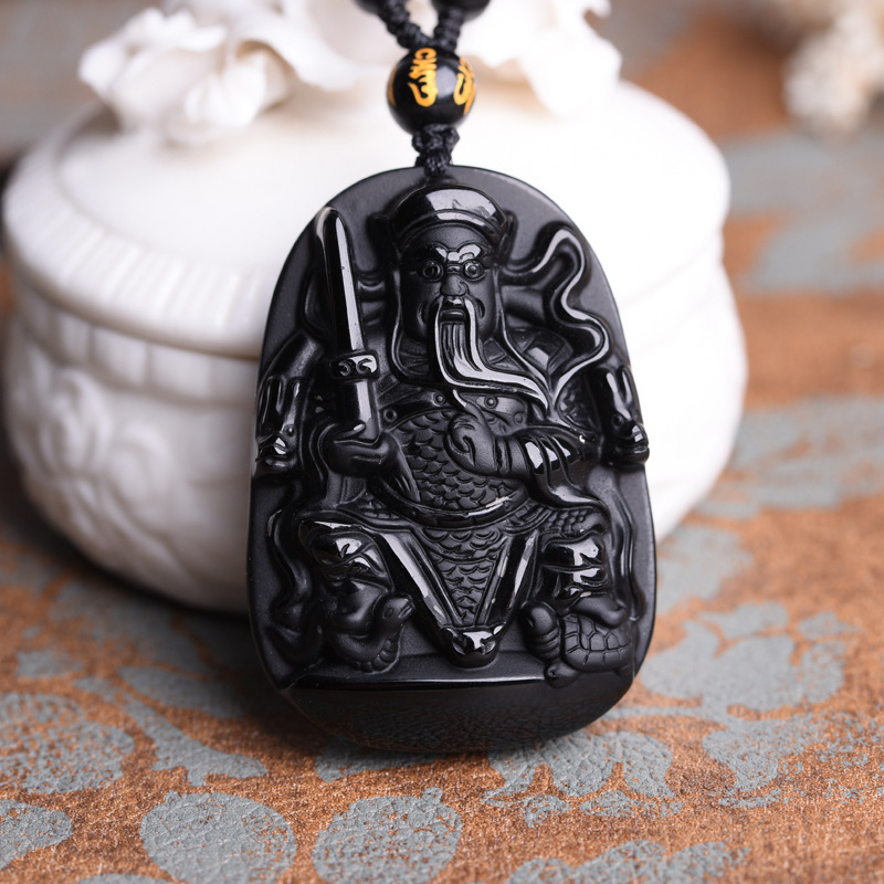 Chinese Natural Black Obsidian Hand-Carved Blessing Guan Yu Dragon Pendant