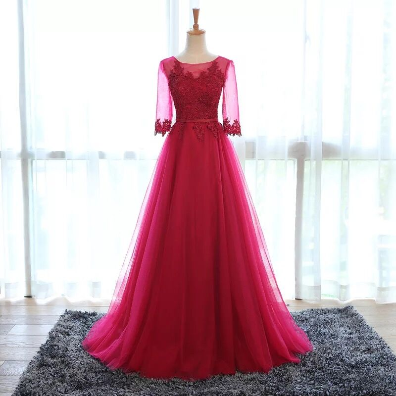 Real Photo Half Sleeve Bridesmaid Dresses A line Lace Long Formal Brides Maid Of Honor Dresses