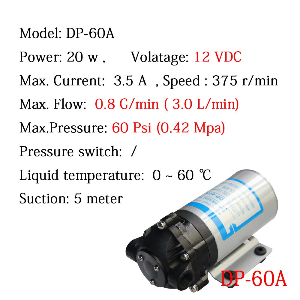 Free Shipping Micro Water Pump 12V DC 20W DP-60A 3L/min High pressure Diaphragm Pumps RO Water System Spray Car Wash free shipping gz 35b 12 12 24v dc 160w double head diaphragm vacuum pump with 70l min vacuum flow