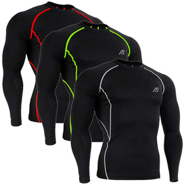 Men's Skin-tight Technical Compression Base Layer Champions Shirt Workout MMA Long Sleeves T-shirts Solid Cool Black Undershirt
