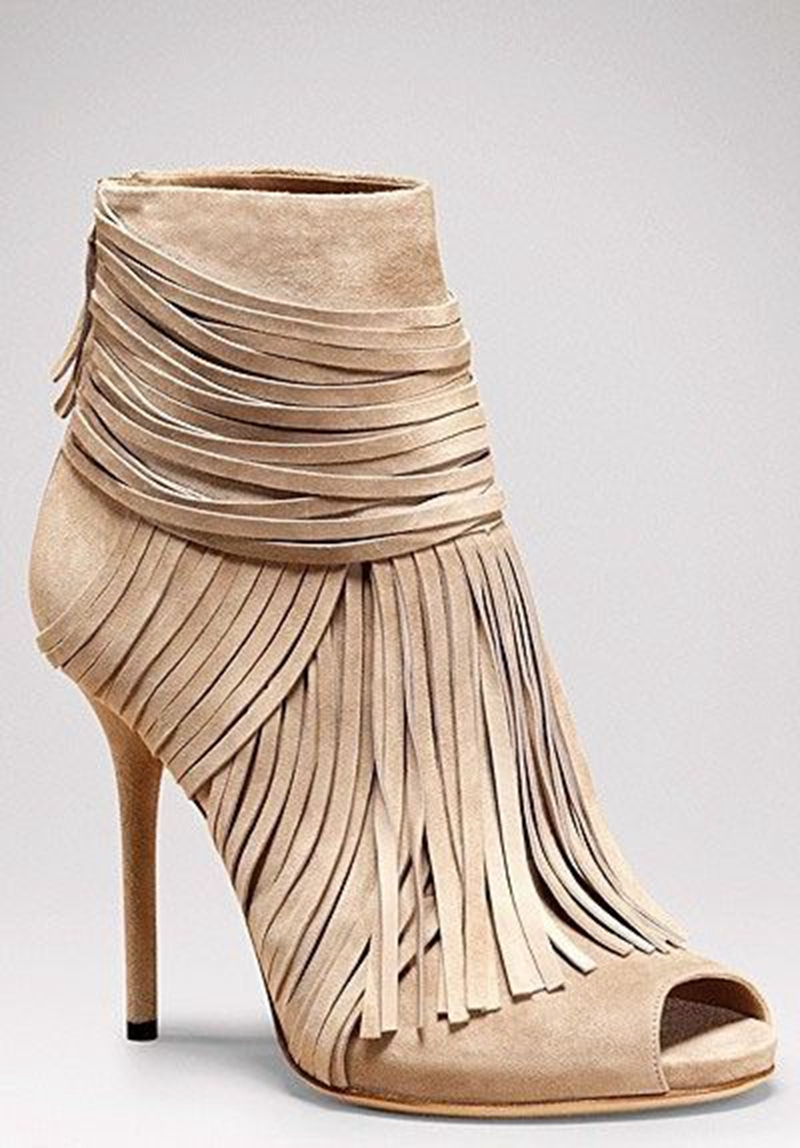 Awesome Beige Suede Fringe Thin High Heel Ankle Boots Women Classy Peep Toe Tassel Stiletto Heel Sandal Booties New Arrival цена