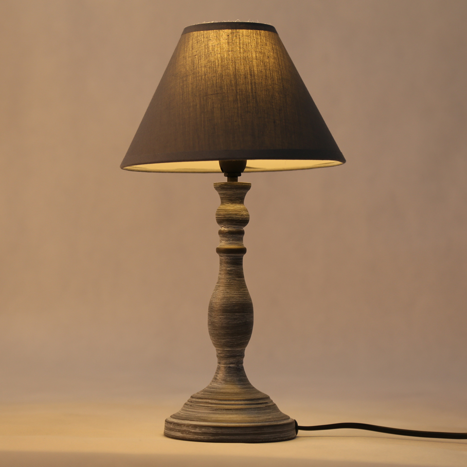 Vintage led table lamp gray iron lamp body home decor lighting fixtures for bedroom bedside night light