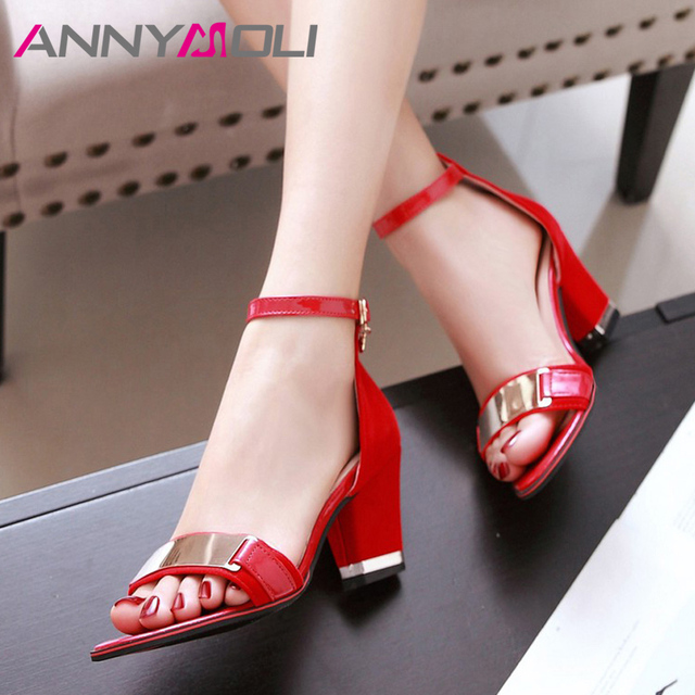 ANNYMOLI High Heels Sandals Women Zip Thick High Heel Party Shoes Elegant Ankle Strap Sandals Female Summer Red Plus Size 33-43