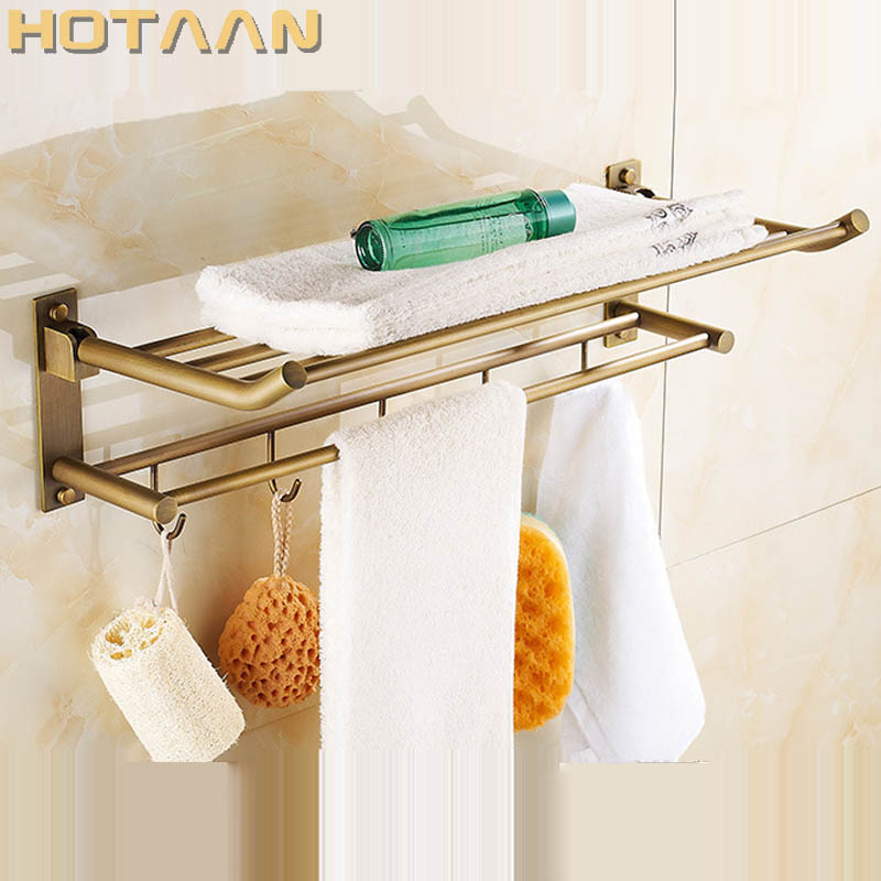 HOT SELLING, antique brass Bathroom towel holder, Foldable towel rack,60cm solid brass towel rack with hooks okaros bathroom double towel bar 60cm towel rack towel holder solid brass golden chrome plating bathroom accessories