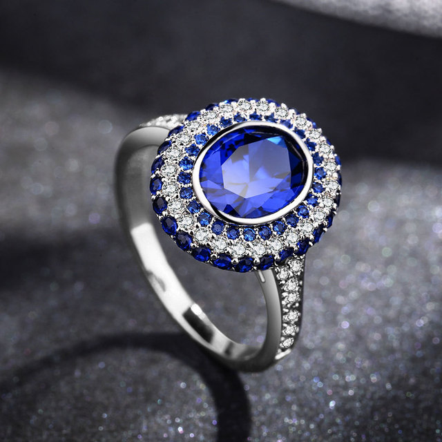 European 925 Sterling silver Female Crystal from Swarovski SimpleLuxury  sapphire ring Couple ring fashion jewelry 2e7511d9f5