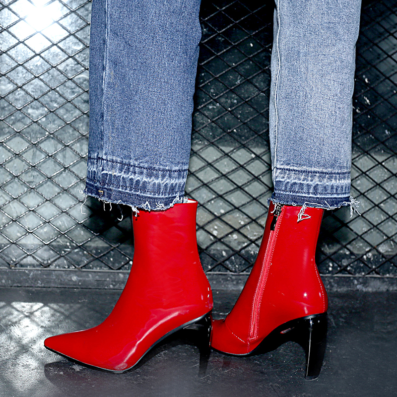 Hiver Courtes Black Piste Cheville Bout Automne Hauts 2018 Pour Style Date Chaussures Bottes Pointu Talons Véritable red Femmes Cuir Étrange x1ISa