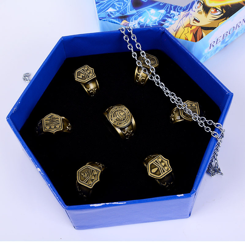 Jewelry Ring Anime Katekyo Hitman Reborn Sawada Tsunayoshi Cosplay Rings Vongola Rings Action Figure Cosplay Toy image