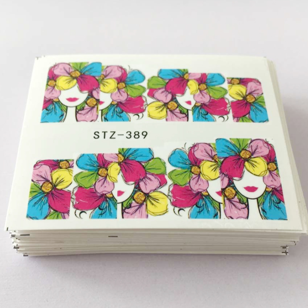 48pcs Colorful Mixed Flower Water Transfer Stickers DIY Nail Art Decorations Manicure Wraps Foil Decals Nail Tools SASTZ352-391 1 sheet sexy red rose water transfer nail art stickers decals decorations diy watermark wraps manicure tools sastz 073
