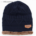 2016 Warm Winter Slouch Beanie Outdoor Skullies Bonnet Cheap Cotton Baggy Hat Knit For Men Fashion Slouchy Ski Hat Double Layer