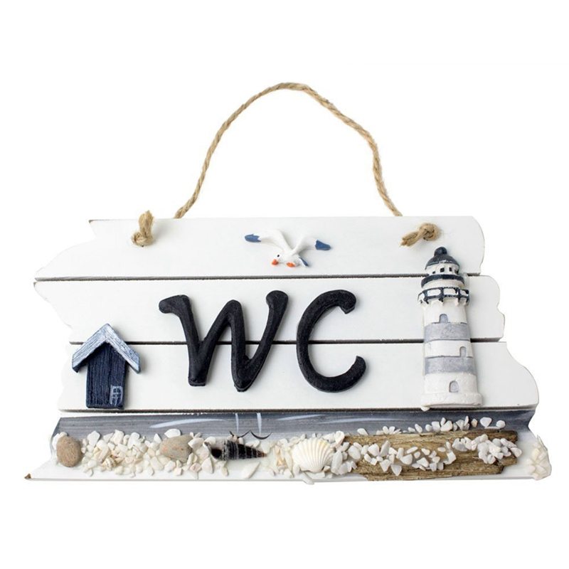 Mediterranean Style Nordic Wooden WC Shingle Doorplate/Plaque/Sign image
