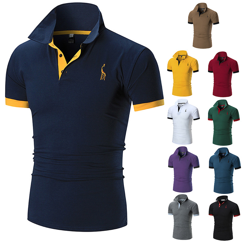 Fashion   Polos   Men's Summer New Style Short Sleeve   Polo  -shirt Deer Embroidered Short-sleeve