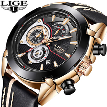 LIGE Mens Watches Top Brand Luxury Quartz Watch Men Casual Leather Military Waterproof Sport Gift Wrist Watch Relogio Masculino hot sale relogio male casual sport quartz watch top brand luxury mens watches quartz watch leather strap military men watch gift