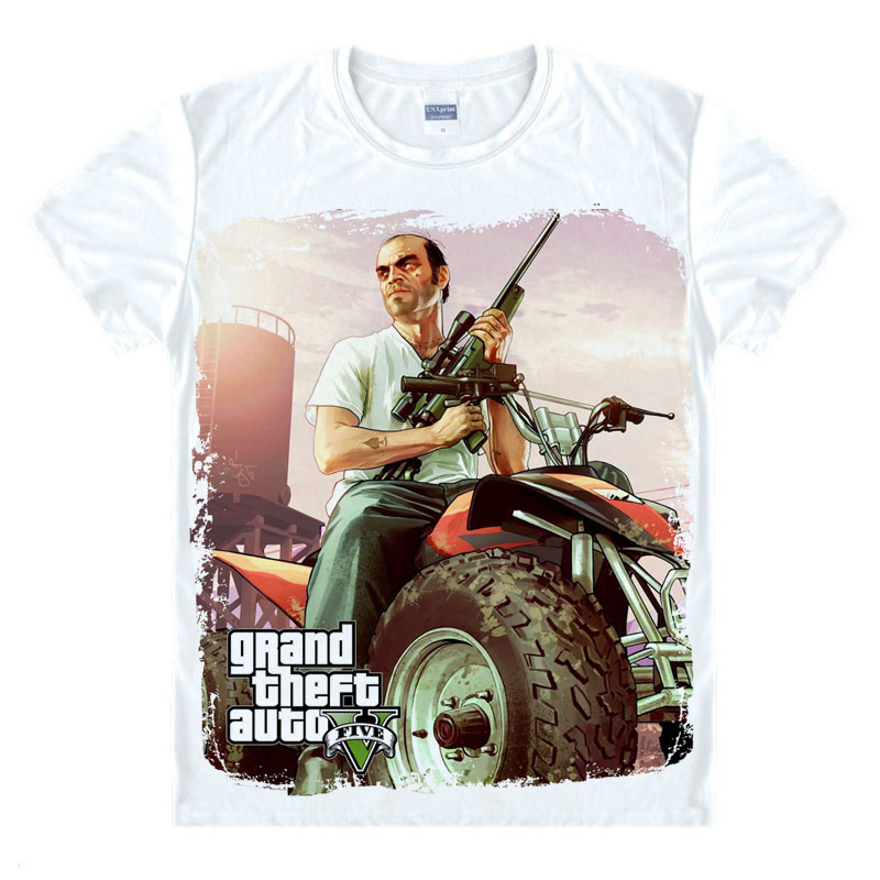 Grand Theft Auto Game GTA 5 Mannen Zomer T-shirts Cool en GTA5 Mannen T-shirt Kleurrijke Print T-shirt in Koppels Tee Shirt Grappige doek