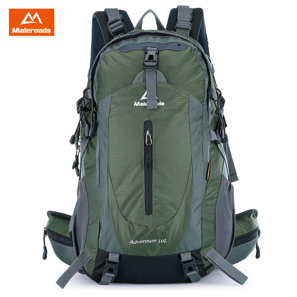 Maleroads 50L Outdoor Sports Backpack With Rain Cover Waterproof Nylon Hiking Camping Travel Luggage Bike Rucksack Bag Men Women