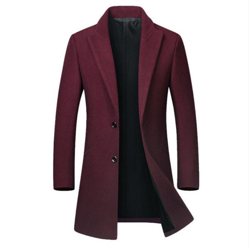 Men's High-quality Wool Coat Casual Slim Collar Wool Coat Men's Long Cotton Collar Trench Coat Dropshipping Winter Wool Jacket