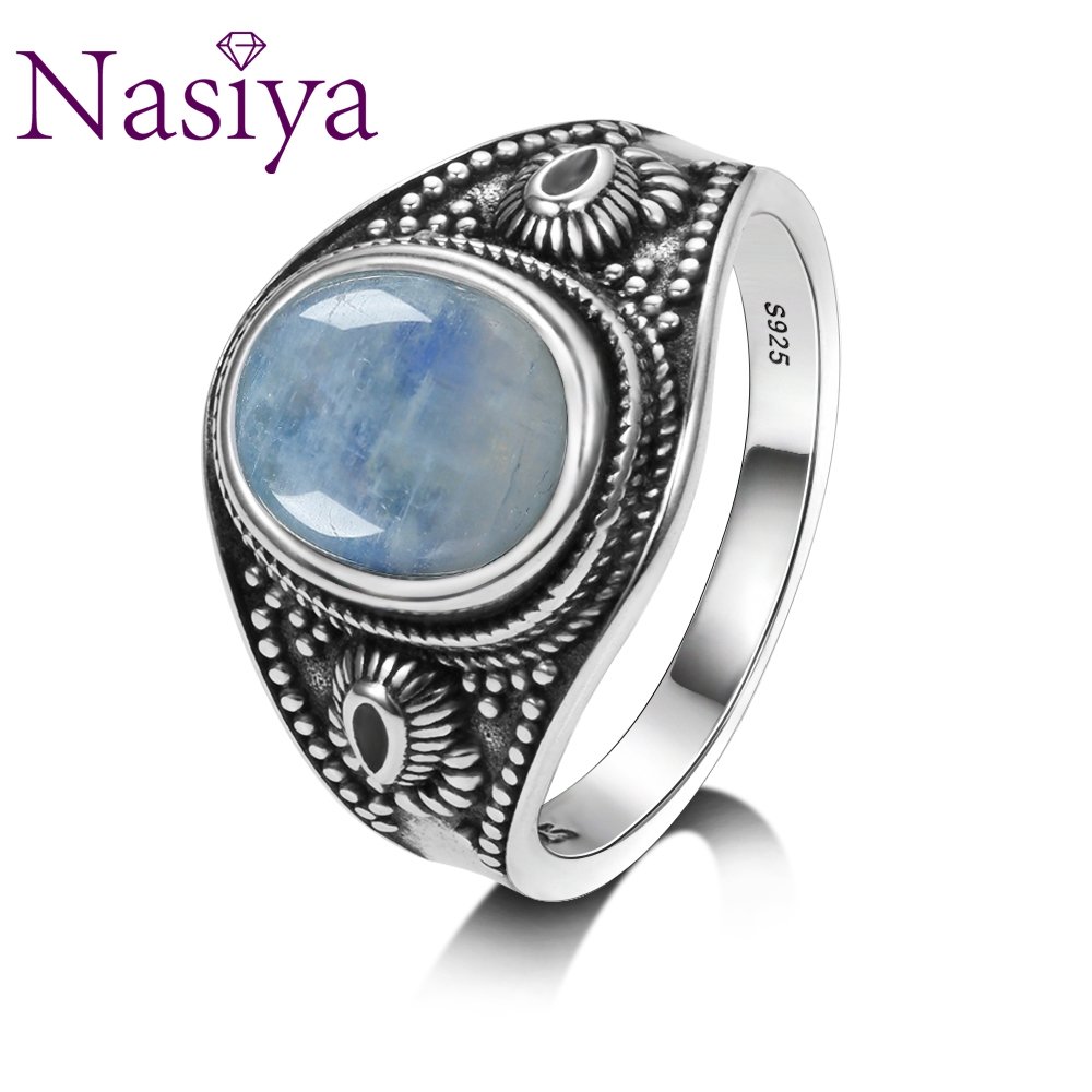Nasiya Natural Moonstone 925 Silver Jewelry Rings Men For Women Party Weeding Anniversary Engagement Gifts Fine Jewelry