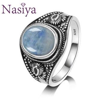 1a5c4659face Nasiya Natural piedra lunar de plata 925 anillos de joyería de los hombres  para las mujeres fiesta aniversario de boda regalos de compromiso joyería  fina