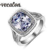 Vecalon Cushion cut diamante Simulado 192 unids 10ct Cz Piedra 14KT 10kt de oro blanco de Compromiso de La Boda Anillo de la venda para Las Mujeres Sz 5-11